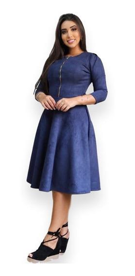 Vestido Suede Midi Moda Evangelica Brinde Cinto