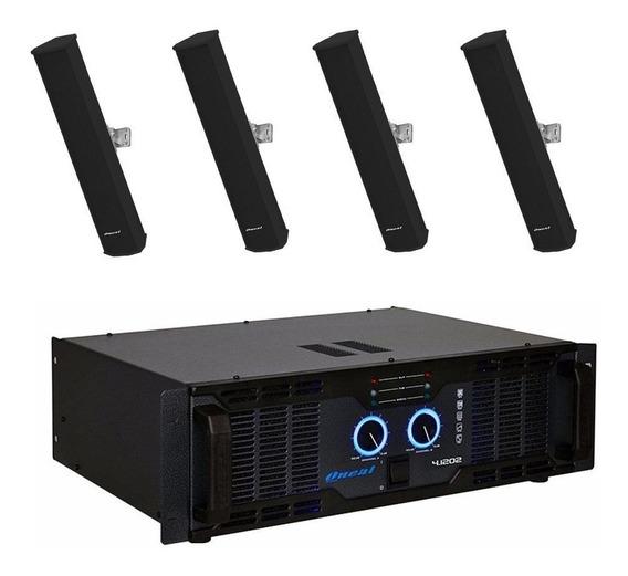 Kit 4 Caixa Som Line Oneal Olb1202 +amplificador Olp-4.1202.