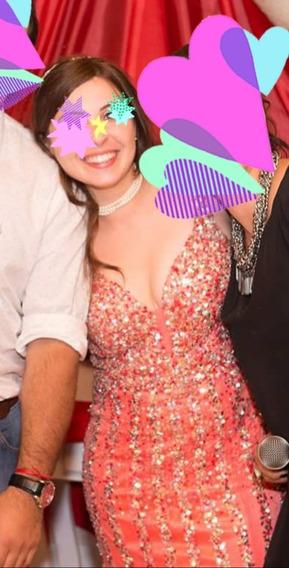 Vestido De Fiesta Rosa Y Plateado