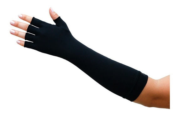 Luva Feminina Longa Sem Dedo Proteção Solar Preta Extreme Uv
