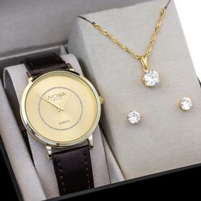 Relógio Nowa Dourado Feminino Couro Nw1410k Nf + Kit Brinde