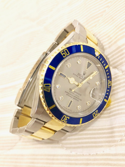 Relogio Rolex Submariner Misto - Aço E Ouro Com Diamantes