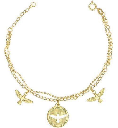 Pulseira Bracelete 3 Espirito Santo Banhado A Ouro 18k