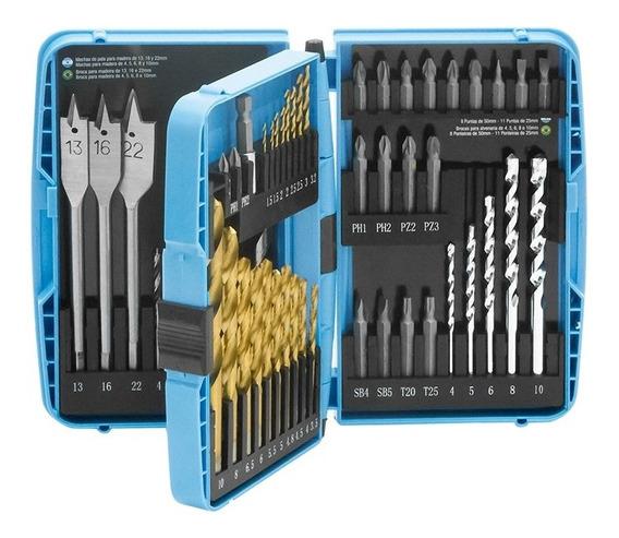 Kit De Brocas Para Metal Alvenaria E Madeira 52 Pçs G19514ac