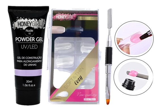 Kit Polygel Honey Girl Molde F1 E Espátula Pincel