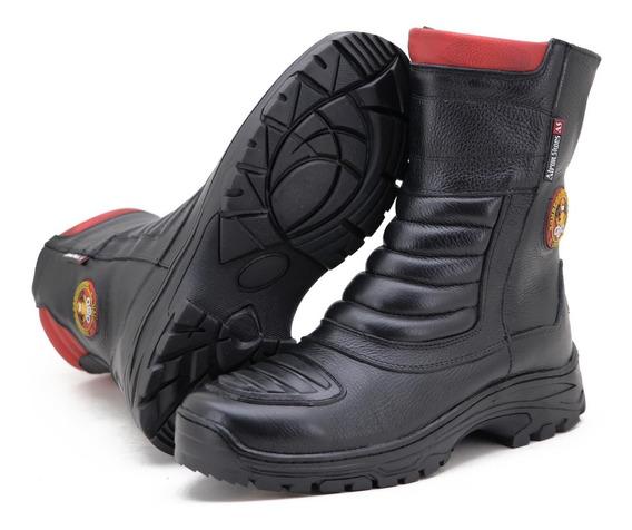 Bota Cano Médio Bombeiro Civil Em Couro Legítimo Atron Shoes