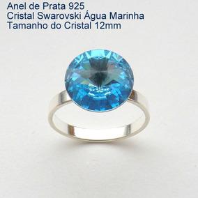 Anel De Prata 925 Com Garantia Cristal Swarovski 12 Mm 7900b
