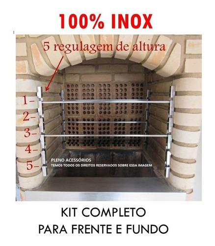 4 Suporte Churrasqueira Alvenaria C/ 6 Barras De Inox 100cm
