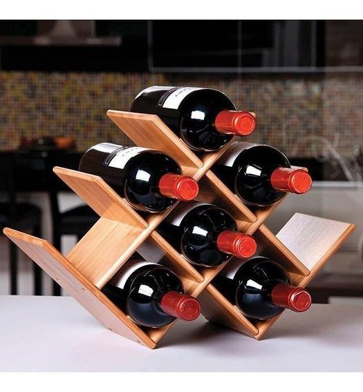 Adega Rack Vinho Decoração Casa Estante Mesa Champagne Bambu