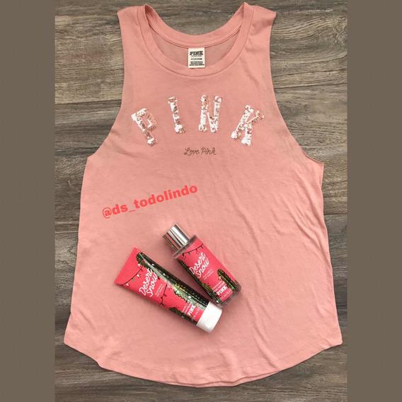 Musculosa Victorias Secret Pink Lentejuelas Talle S