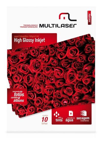 Papel Fotográfico Brilhante A4 10 Folhas Pe030 Multilaser