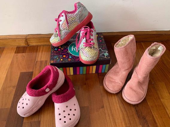 3x 1 Zapatos Footy Con Luces Ojotas Crocs Botines Uggi 30