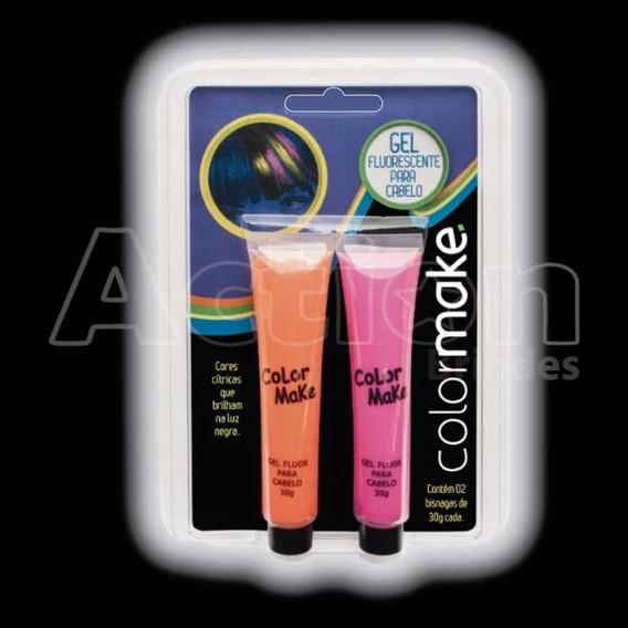 Gel Fluorescente Neon Para Cabelo - Kit 2 Un Laranja E Pink