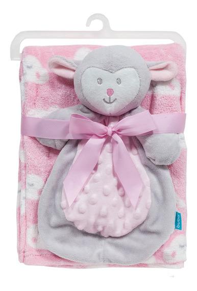Cobertor Manta Com Naninha Ovelhinha Para Bebê Rosa - Buba