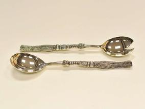 Cj. 02 Talheres Para Salada Em Zamac Prata Antiga - 10262