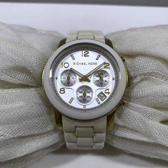 Relógio Michael Kors Dourado E Branco Original Usado