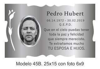 Placa Recordatoria Para Cementerio 25x15 Con Foto 6x9