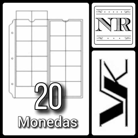 10 Hojas Para Monedas Formato Clasico - Vk - 20 Espacios