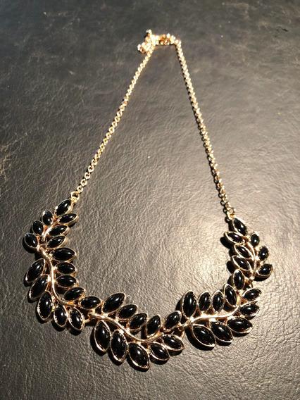 Collar/gargantilla Metálico Dorado Con Piedras