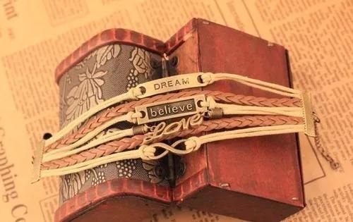 Pulseira Bracelete De Couro Dream Sonhos