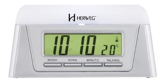 Relógio Herweg Despertador Fala Horas E Temperatura 2959