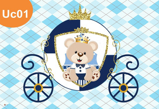 Painel Lona Ursinho Principe Urso Rei Festa Aniversário