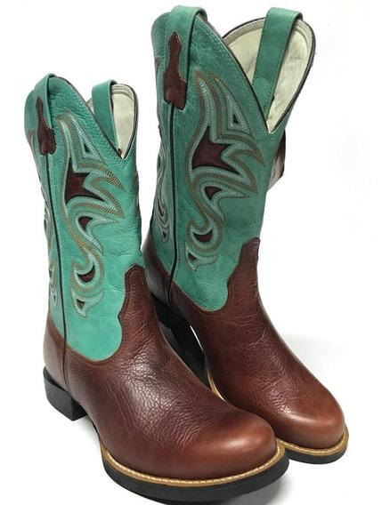 Bota Texana Country Feminina Goyazes Bico Redondo Cano Azul