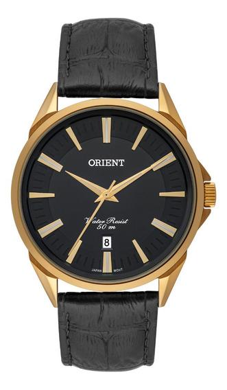 Relógio Masculino Dourado Orient Data Pulseira Couro Preto
