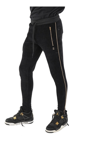 Pantalón Plush Negro Con Bordado Billionz, Kmtk Store