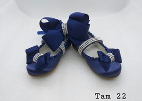 Sapatinho Customizado Azul Com Faixa De Cabelo Tam 22