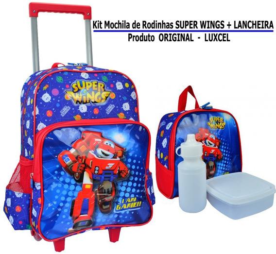 Mochila De Rodinhas Super Wings + Lancheira