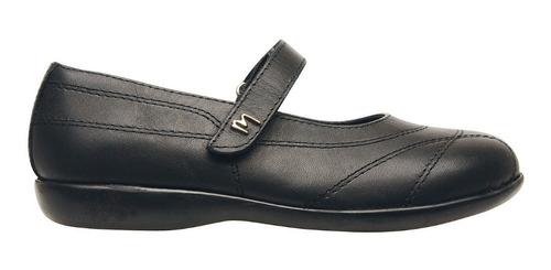 Imagen 1 de 6 de Zapatos Guillermina Colegial Marcel Cuero Nena Negro Escolar