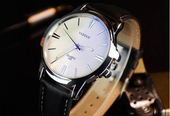 Relógio Masculino Couro Yazole Quartzo Preto/fundo Branco
