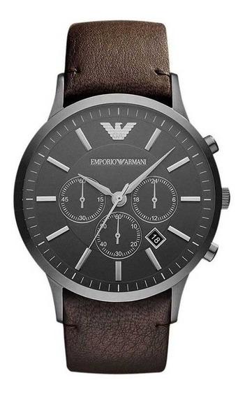 Reloj Análogo Marca Armani Modelo: Ar2462 Color Marron / Pla