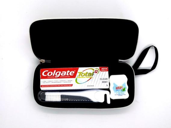 10 Kits Colgate Miniatura +estojo+escova Viagem + Fio Dental