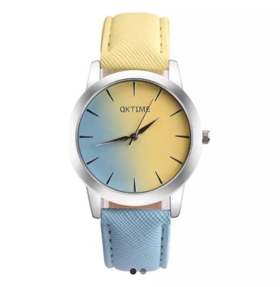 Relógio De Pulso Azul E Amarelo - Envio Imediato