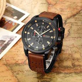 Relógio Analógico De Ponteiros Curren 8250 Marrom Com Preto