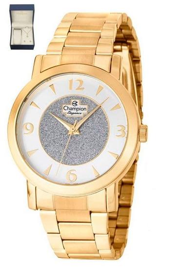Kit De Relógio Champion Analógico Feminino Cn25136w Dourado
