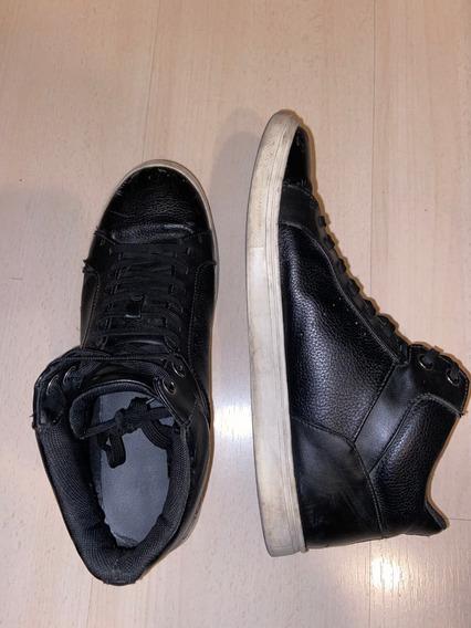 Zapatillas Bota Botitas H&m De Cuero Color Negro