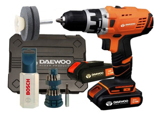 Taladro Atornillador Daewoo 18v Inalambrico + Kit Bosch Mechas Y Puntas + Maletin + 2 Baterias + Cargador Rapido + Envio
