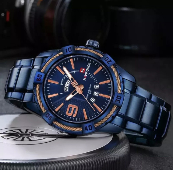 Relógio Naviforce 9117 Luxo Azul Promoção + Caixa Manual