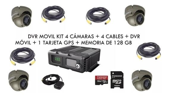 Dvr Movil 4ch Vehiculos Xmr401ahd 4 Camaras + Gps +mem 128gb