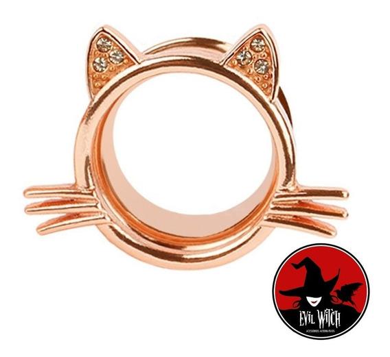 Alargador De Orelha Gato/gatinho Ouro Rose (o Par).