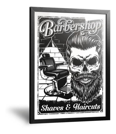 Cuadros Chapa Barberías Peluquerías Tatto Con Marco Y Vidrio