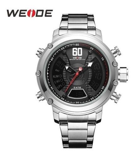 Relógio Masculino Prata Aço Original Grande Anadigital