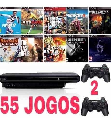 Playstation 3 Ps3 250 Gb C/ 2 Controles + 55 Jogos