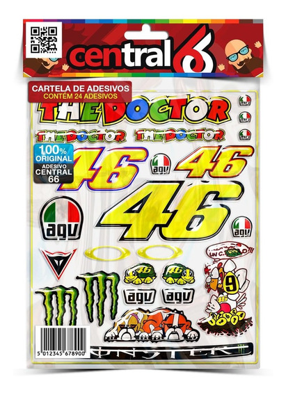 Cartela 24 Adesivos Resinados Valentino Rossi 46