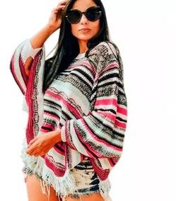 Blusa Poncho Kimono Tricot Tricô Inverno Colorido