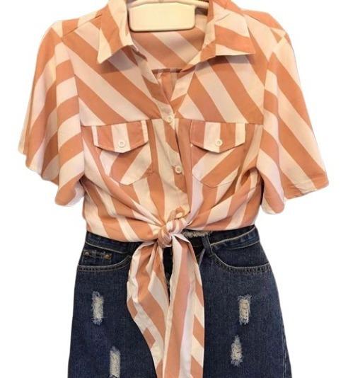 Camisa Listrada Feminina Bolsos Frontais Com Laço Promoção