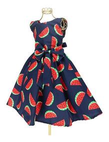 Vestido Infantil Marinho Estampa Melancia Magali Luxo Bn744